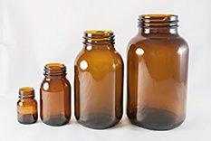 Bottiglie in vetro incolore / giallo, bocca larga GL