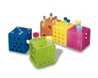 Portaprovette cubo ad incastro, multicolori, in PP