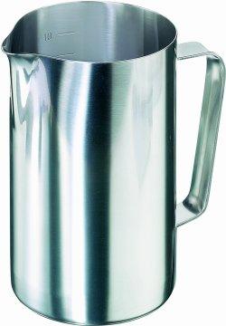 Caraffe, in acciaio 18/10, forma cilindrica, interno graduato, con manico e becco